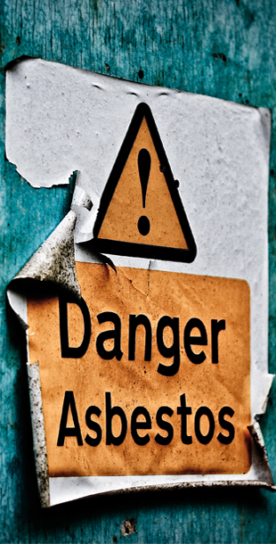 Sign on the wall: Danger Asbestos